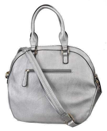 Quilted Pocket 2 Way Round Satchel Silver - Ace Handbag