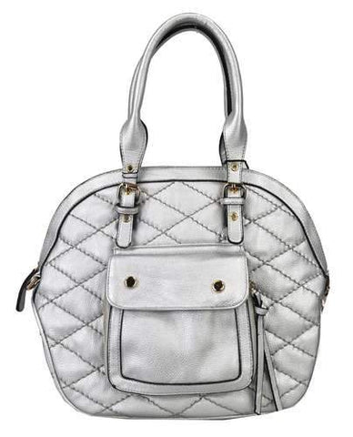 Quilted Pocket 2 Way Round Satchel Silver - Ace Trading Co.