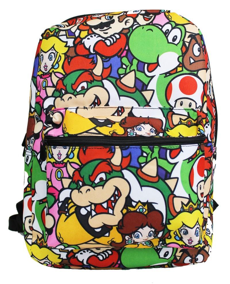 "Licensed Super Mario Bros Black Medium 14"" School Backpack - Ace Handbag"