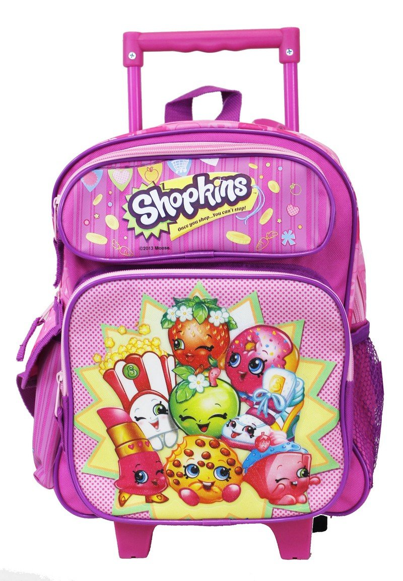 "Shopkins Pink Girls Toddler 12"" Small Rolling Backpack - Ace Handbag"