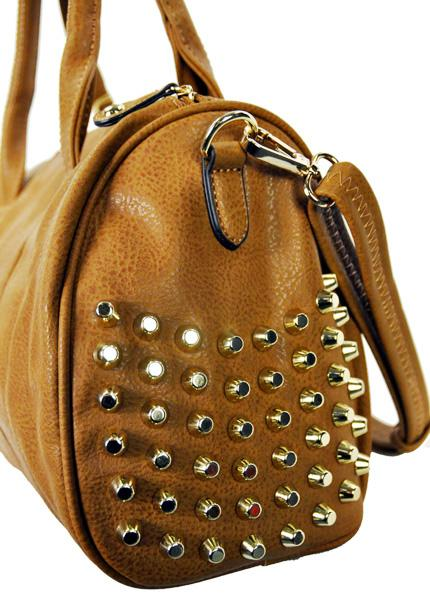 Studded Fashion Satchel w/ Strap Camel - Ace Handbag