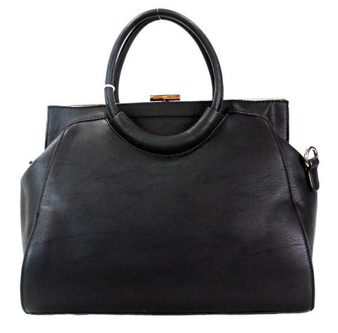 Fashion Clutch Top Vegan Leather 2 Way Satchel Black - Ace Trading Co.