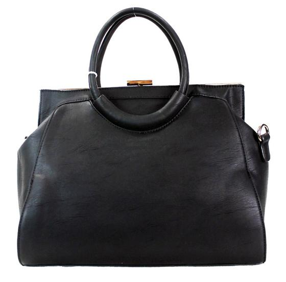 Fashion Clutch Top 2 Way Satchel Black - Ace Handbag