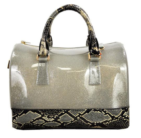 High Gloss Candy Color Jelly Bag Exotic Python Accent 2 Way Tote Silver - Ace Trading Co.