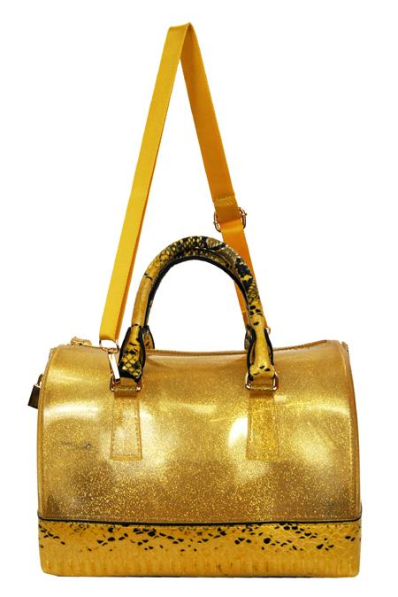 High Gloss Candy Color Jelly Bag Python Accent 2 Way Tote Gold - Ace Handbag