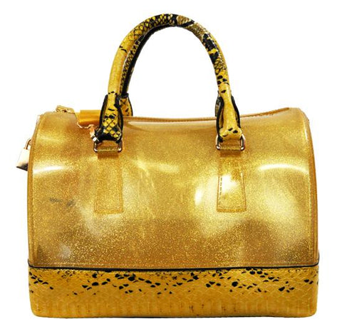 High Gloss Candy Color Jelly Bag Exotic Python Accent 2 Way Tote Gold - Ace Trading Co.