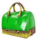 High Gloss Candy Color Jelly Bag Exotic Python Accent 2 Way Tote Green - Ace Trading Co.