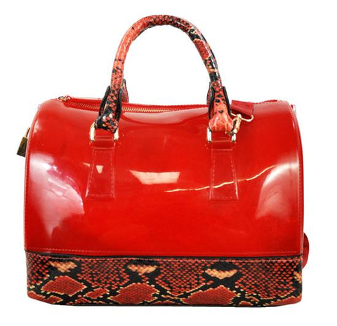 High Gloss Candy Color Jelly Bag Exotic Python Accent 2 Way Tote Red - Ace Trading Co.