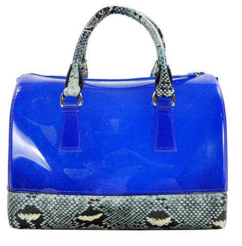 High Gloss Candy Color Jelly Bag Exotic Python Accent 2 Way Tote Turquoise - Ace Trading Co.