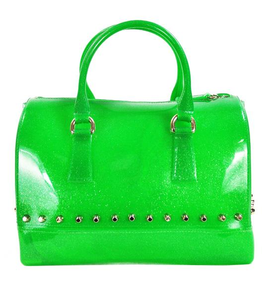 Glitter Pearl PVC Jelly Bag Semi Transparent Studded Rubber Tote Green - Ace Trading Co.
