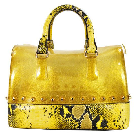 Pearl Glitter Candy Color Jelly Bag Studded Python 2 Way Silicon Tote Gold - Ace Trading Co.