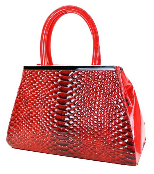 Textured Croc Skin 2 Way Satchel Bag Red - Ace Handbag
