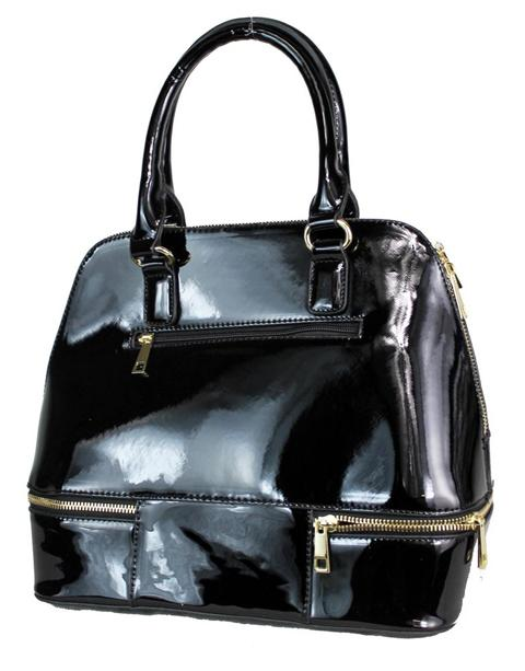 High Gloss Patent Leather Zip Accent Tote Black - Ace Handbag