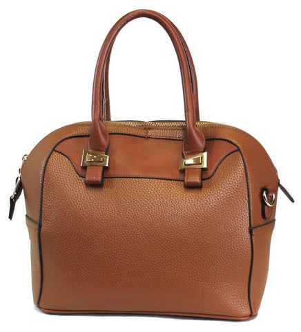 Textured Leatherette 2 Way Fashion Satchel Brown - Ace Trading Co.