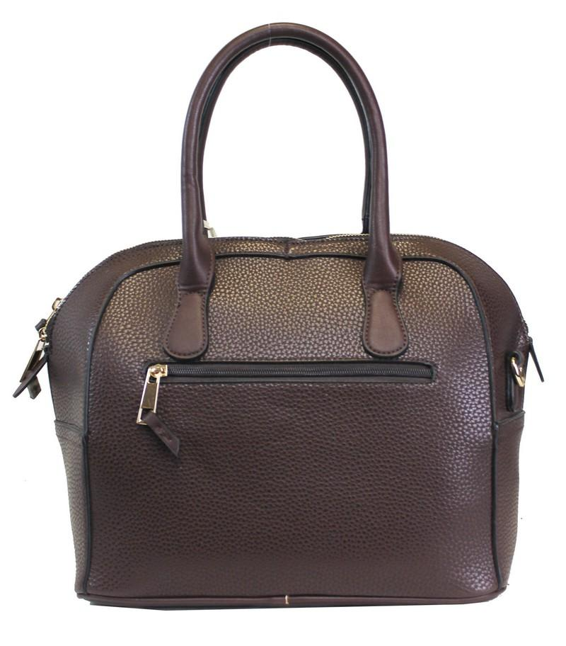 Textured Leatherette 2 Way Fashion Satchel Coffee - Ace Handbag