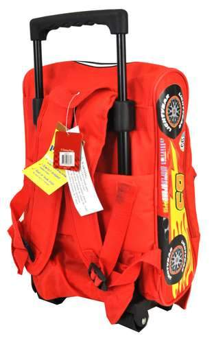 "Disney Cars McQueen Shaped 12"" Toddler Roller Backpack - Rolling Bag - Ace Handbag"