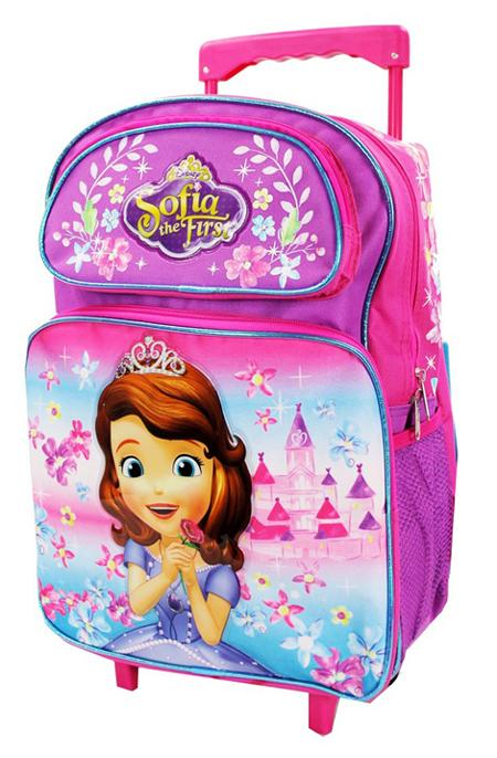 "Disney Princess Sofia the First 16"" Large Rolling Backpack Pink - Ace Handbag"