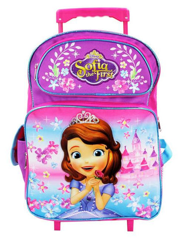 "Disney Princess Sofia the First 16"" Large Rolling Backpack Bag Pink Girls - Ace Trading Co."