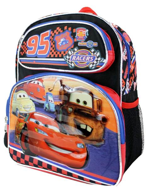 "Disney Cars Neon Lights Boys 12"" Small Backpack for Toddlers - Ace Handbag"
