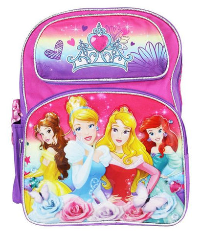 "Princess 16"" Large Backpack - Cinderella Snow White Ariel Brave Girls Book Bag - Ace Trading Co."