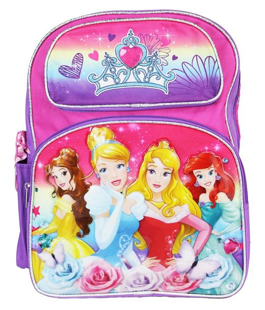"Princess 16"" Large Backpack - Cinderella Snow White Ariel Brave Girls Book Bag - Ace Handbag"