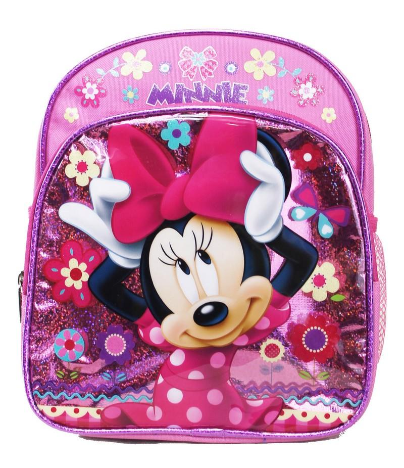 "Disney Minnie Mouse Backpack - Pink Bow 10"" Mini Girls School Bag - Ace Handbag"