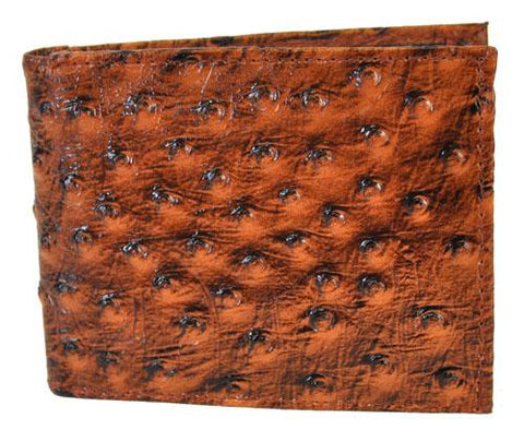 Bi-Fold Mens Wallet Ostrich Brown