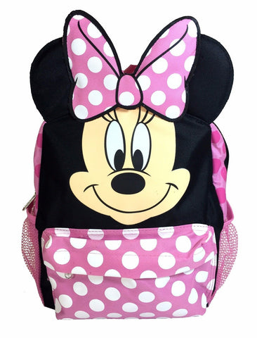 "Minnie Mouse Happy Face 3D Ears 16"" Large Backpack School Bag"