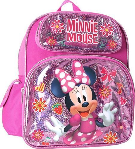 "Disney Minnie Mouse 12"" Small Backpack Shiny School - Ace Handbag"