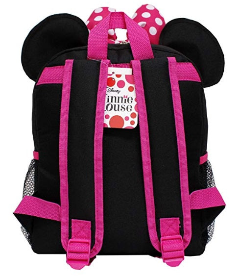 "Disney Minnie Mouse New 3D Ears & Bowtie 12"" Small Girls' School Backpack - Ace Handbag"