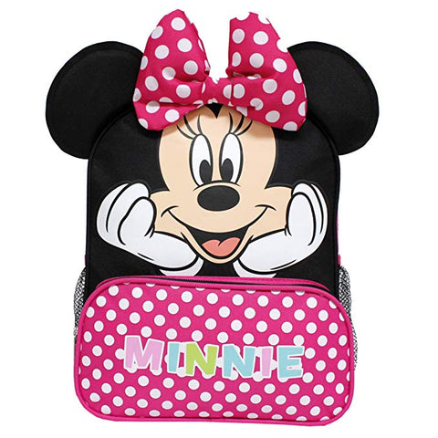 "Disney Minnie Mouse New 3D Ears & Bowtie 12"" Small Girls' School Backpack - Ace Trading Co."