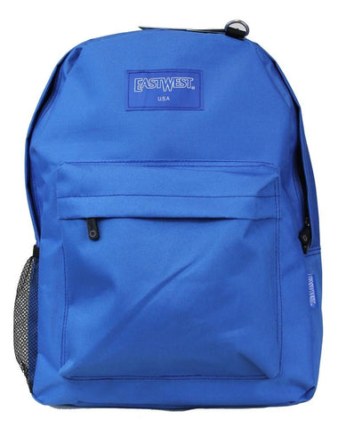 "East West USA 600D Polyester 16"" Large Kids School Backpack Royal - Ace Trading Co."