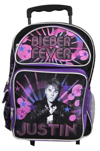 "Justin Bieber Fever Burst  16"" Large Rolling Backpack JB Girls - Ace Handbag"