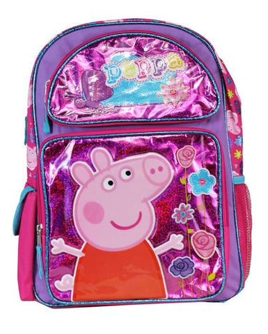 "Peppa Pig and Friends 16"" Large School Pink Backpack Girls Book Bag - Ace Trading Co."