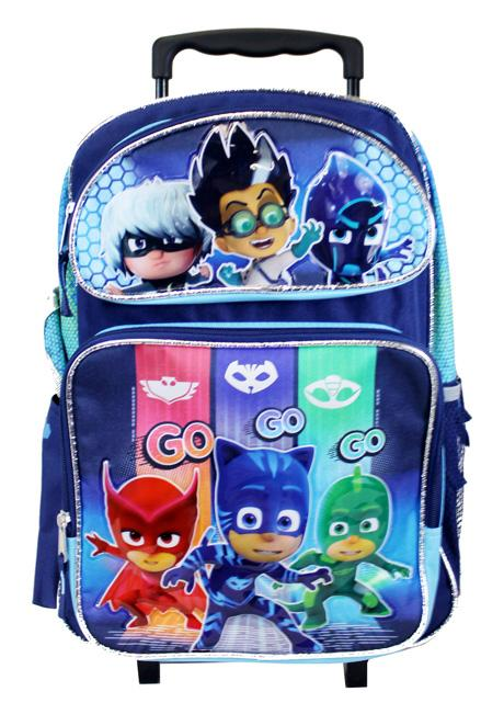 "Disney PJ Masks 16"" Large Rolling Backpack - Ace Handbag"