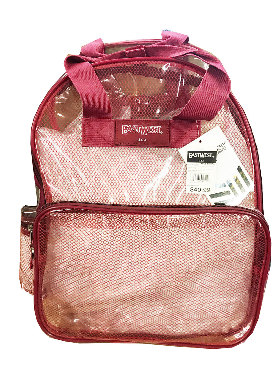 "Clear Mesh  Large 16"" Backpack Burgandy - Ace Handbag"
