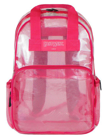 "Clear Transparent with Mesh  Large 16"" School Backpack Security Ba Hot Pink - Ace Trading Co."