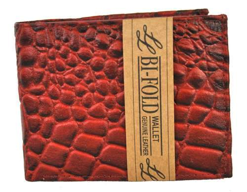 Bi-Fold Men Wallet Textured Crocs Burgandy - Ace Handbag