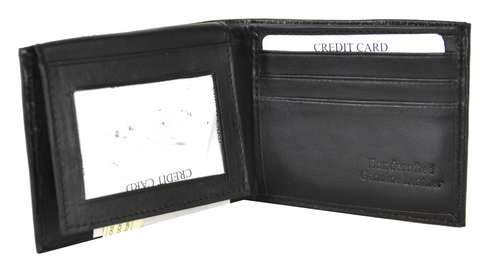 Bi-Fold Men Wallet Soft Patent Leather Black - Ace Handbag