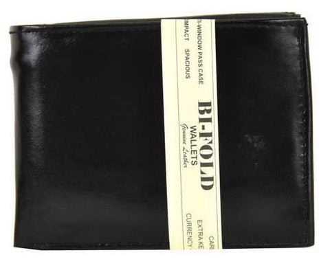 Bi-Fold Men Wallet Soft Patent Leather Black