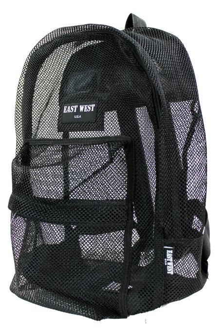 "East West See Through 17"" Large  Mesh School Backpack Black - Ace Handbag"