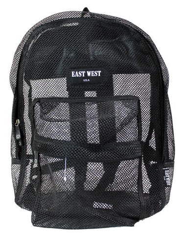 "East West See Through 17"" Large  Mesh School Backpack Black - Ace Trading Co."