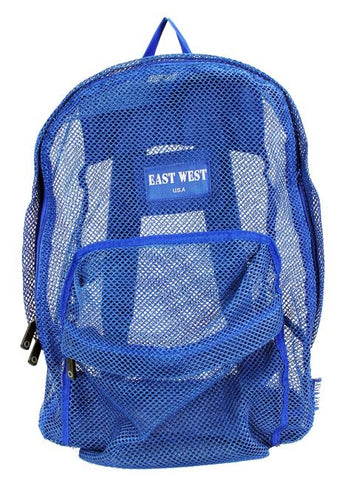 "East West See Through 17"" Large  Mesh School Backpack Blue - Ace Trading Co."