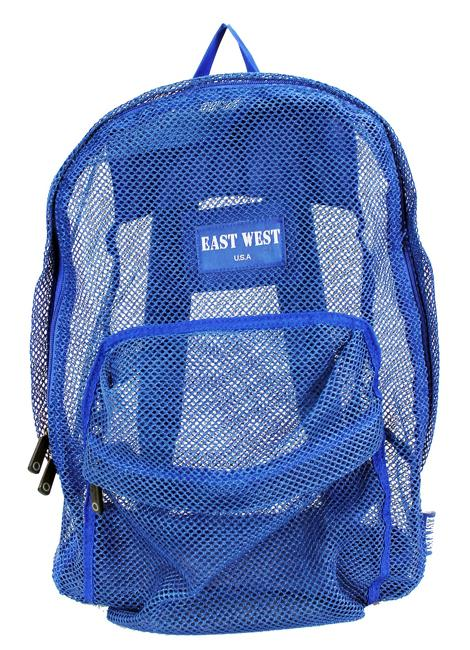 "East West See Through 17"" Large  Mesh School Backpack Blue - Ace Handbag"