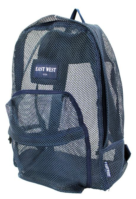"East West See Through 17"" Large  Mesh School Backpack Dark Blue - Ace Handbag"