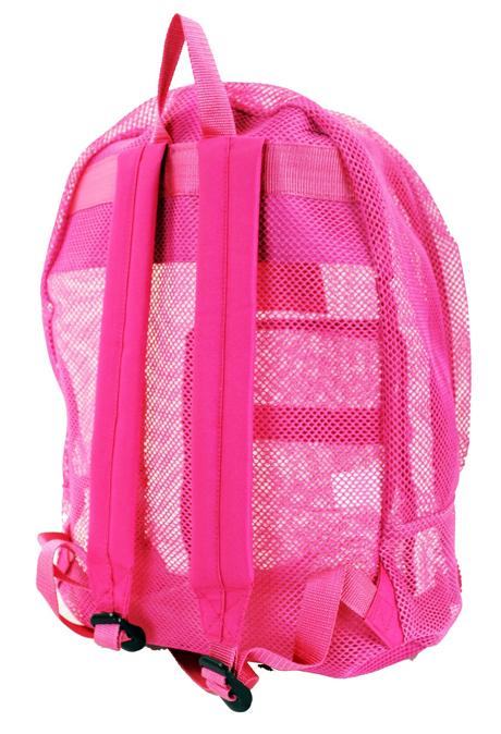 "East West See Through 17"" Large  Mesh School Backpack Hot Pink - Ace Handbag"