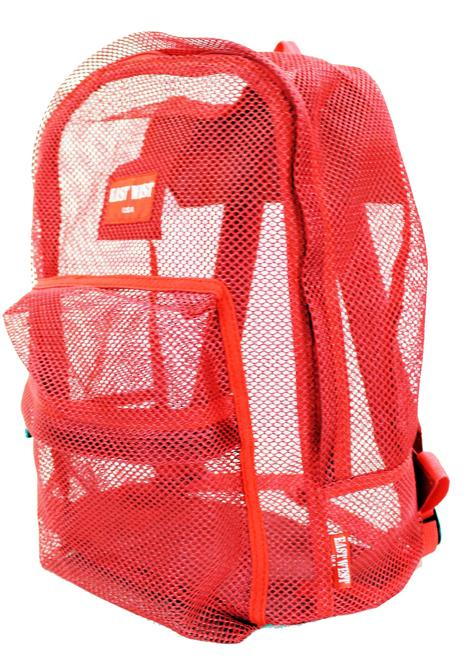 "East West See Through 17"" Large  Mesh School Backpack Red - Ace Handbag"