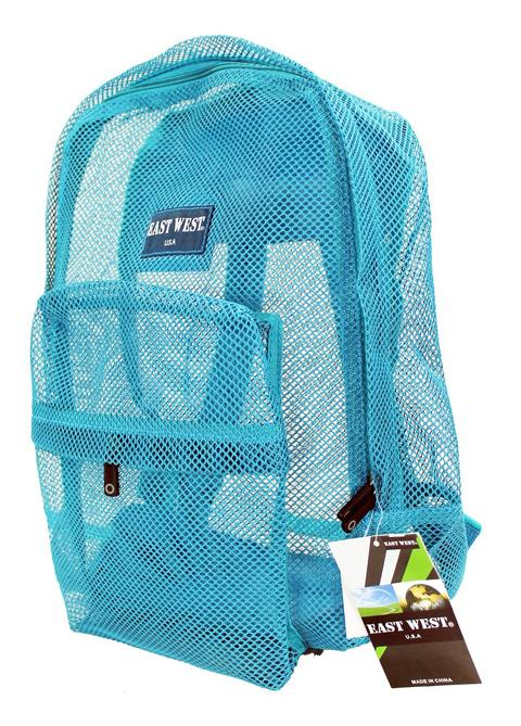 "East West See Through 17"" Large  Mesh School Backpack Mint - Ace Handbag"