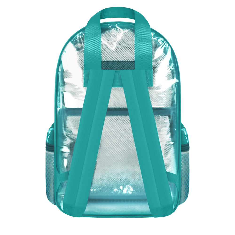 "Clear Mesh Transparent Large 16"" Backpack Turquoise - Ace Handbag"