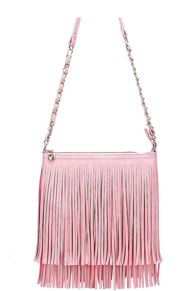 Western Fringe Cross Body Bag Rose Pink - Ace Handbag